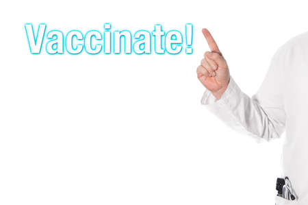 inoculate: Doctor pointing with his finger on a headline (vaccinate)