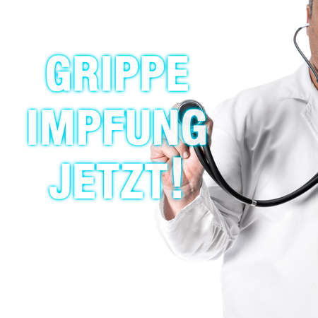 inoculate: Doctor pointing with his finger on a headline influenza, vaccinate
