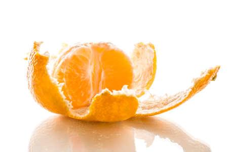 citrus reticulata: Mandarin Citrus reticulata is peeled, detailed picture isolated