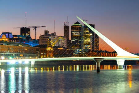 Puerto Madero at night, modern and historic part of the town, Buenos Aires Argentina