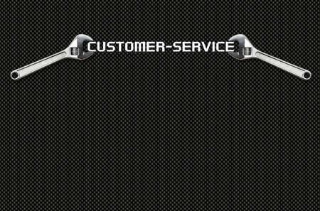 small business office: Wrench holds lettering customer service in front of a carbon wall Stock Photo