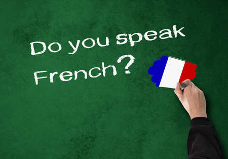counsel: Business Man writes -Do you speak french- on a wall Stock Photo