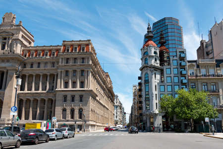 tribunal: Tribunal, historic and modern building and street in Buenos Aires Argentina