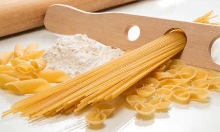 culinary arts: Ingredients for making pasta on the kitchen worktop