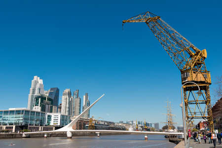 argentine: Harbor Puerto Madero Buenos Aires Argentine, skyline and ships Editorial