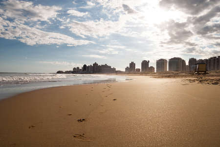 Lonley beach and skyline of Punta del Este Uruguay south America