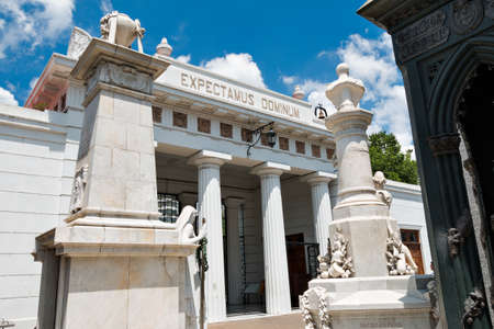 Historic cemetery Recoleta with many sculptures, Buenos Aires Argentine Editorial