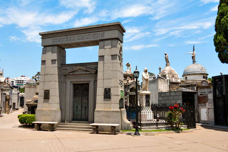 peron: Historic cemetery Recoleta with many sculptures, Buenos Aires Argentine Editorial