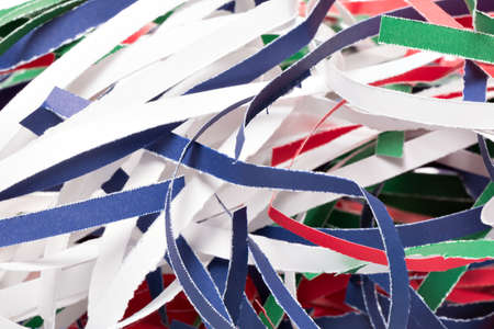 shredded paper: Colorful shredded paper stripes with white background Stock Photo