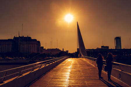 argentine: Sunset in the Harbor Puerto Madero Buenos Aires Argentine, skyline and ships