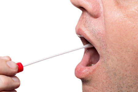 cotton swab: Man use a DNA test tube and cotton swab, wipe test Stock Photo