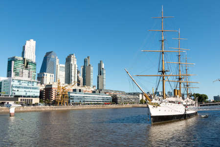 Harbor Puerto Madero Buenos Aires Argentine, skyline and ships Stock Photo