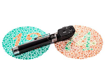 prueba de vision: Oftalmoscopio es un color visión de ensayo gráfico Ishihara Foto de archivo