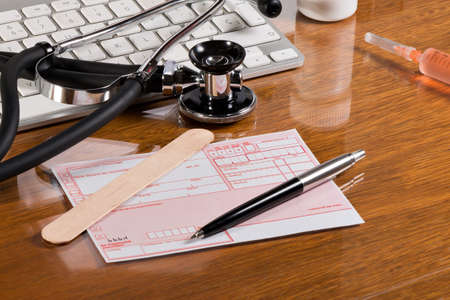 medical practice: Prescription drugs on the desk of a medical practice Stock Photo