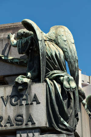 Historic cemetery Recoleta with many sculptures, Buenos Aires Argentine Stock Photo