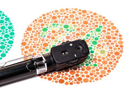 examen de la vista: Oftalmoscopio es un color visión de ensayo gráfico Ishihara Foto de archivo