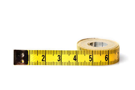 tailor tape: Yellow white tailor tape measure to take measurements and measure