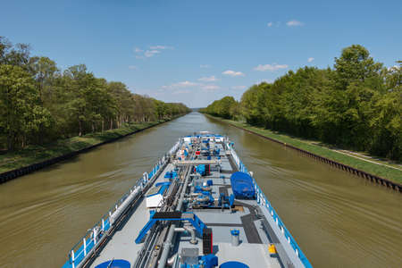 Inland tanker on the Dortmund-Ems Canal Stock fotó