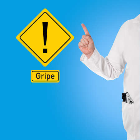 gripe: Doctor in a white coat with a stethoscope and ophthalmoscope in pocket warns against flu (influenza)