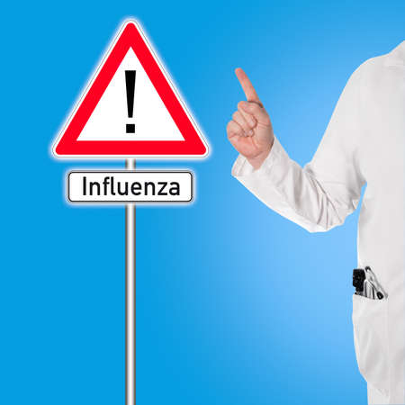 contagious: Doctor in a white coat with a stethoscope and ophthalmoscope in pocket warns against flu (influenza)