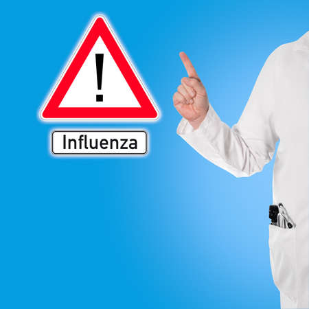 Doctor in a white coat with a stethoscope and ophthalmoscope in pocket warns against flu (influenza)