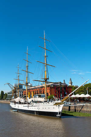 frigate: Frigate President Sarmiento in the Harbor Puerto Madero Buenos Aires Argentine, skyline and ships Stock Photo