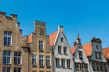 gabled house: Historic gabled houses at the Prinzipalmarkt Münster in North Rhine-Westphalia Editorial