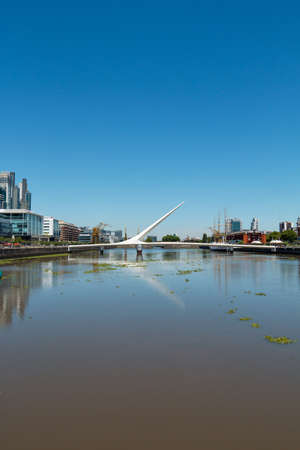 mujer: Womens Bridge in the harbor Puerto Madero Buenos Aires Argentine