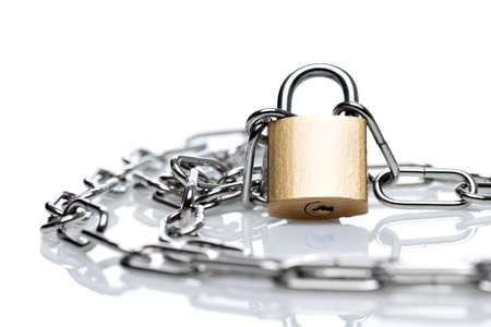 Iron chain me padlock on white background