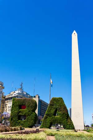 The obelisk the landmark of Buenos Aires, Argentina. It is located in the Plaza de la Rep�blica on Avenida 9 de Julio