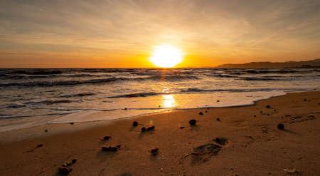Romantic sunset at Playa de Palma, Mallorca Spain