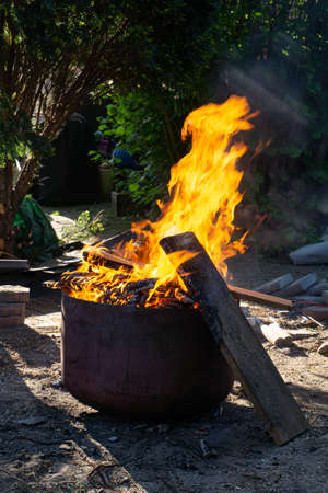 Fire, burning wood in a fire barrel