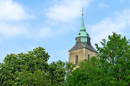 Steeple of the St. Martinus Church in Greven, North Rhine-Westphalia Germany Standard-Bild