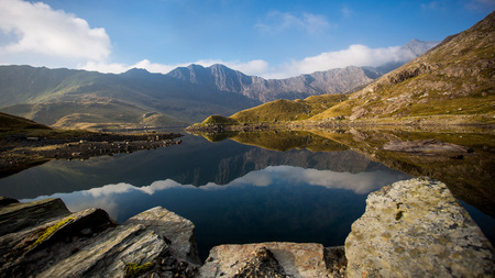 kingdom of heaven: Mountain panorama with reflection of the highest Welsh mountain Snowden