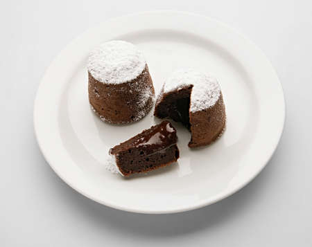 Delicate Cake with hot Chocolate, french delicacy — moelleux