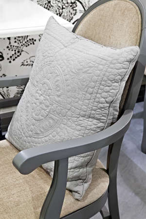 Chair with Gray pillow Ñ close-up Stock Photo