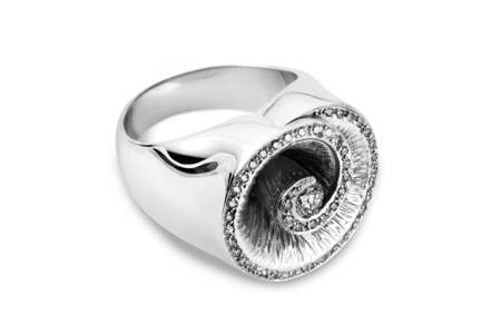 Diamond ring with a large amount of diamonds arranged in a spiral form
