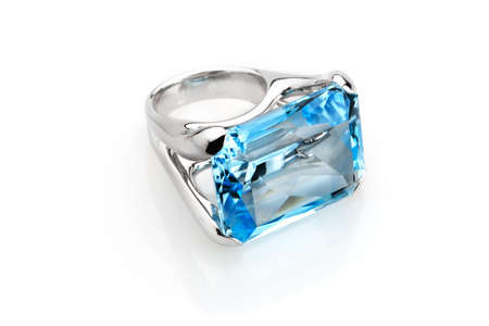 Ring with a large blue sky aquamarine in white gold Stock Photo