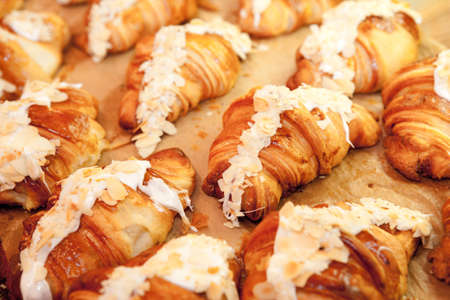 Fresh french croissants from oven