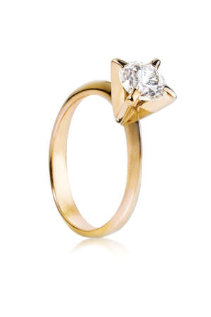 Golden ring with big diamond Stock Photo