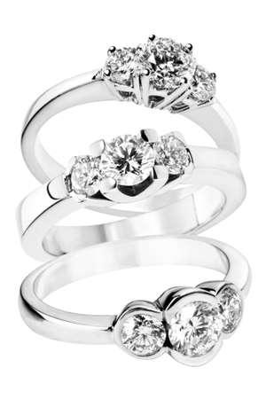 diamante negro: Colecci�n de anillos de diamantes en oro Foto de archivo