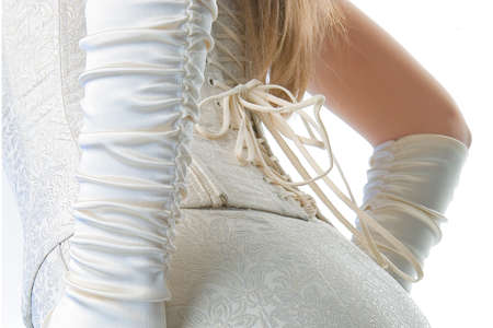 Brides corset from the back on the white background Stock Photo