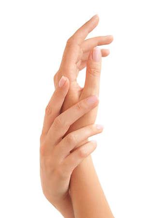 hand massage: Beautiful woman Stock Photo