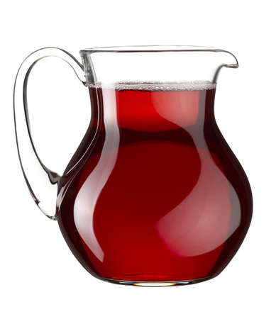 Homemade red wine in the transparent glass jar on white background