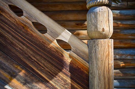 Porch of  Old Russian northen log house Stock Photo