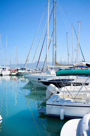 Yachts in safe harbor. In Latchi, Cyprus 版權商用圖片