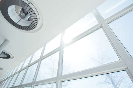 Big White Windows and ceiling with lights
