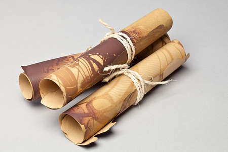 Old Scrolls of Papers tied with twine