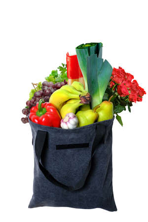 Eco-friendly gray reusable shopping bag filled with different fruits, vegetables and goods.