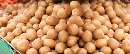 Ripe potatoes laid out in a supermarket 版權商用圖片